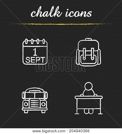 School and education chalk icons set. September 1st date, school bus, student's rucksack, pupil sitting at desk. Isolated vector chalkboard illustrations