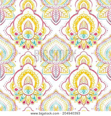 Beautiful seamless pattern with traditional native indian ornament