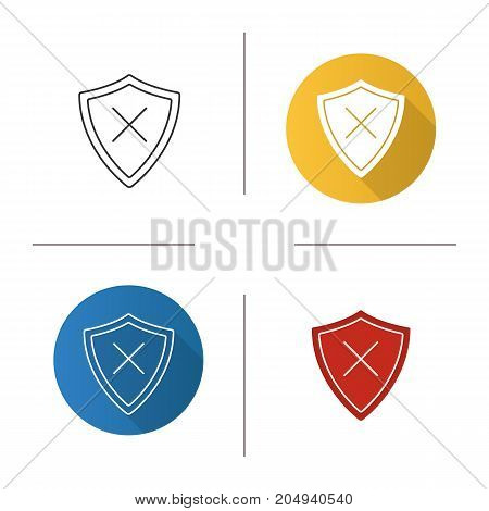Security icon. Flat design, linear and glyph color styles. Protection shield with cancel cross. Isolated vector illustrations