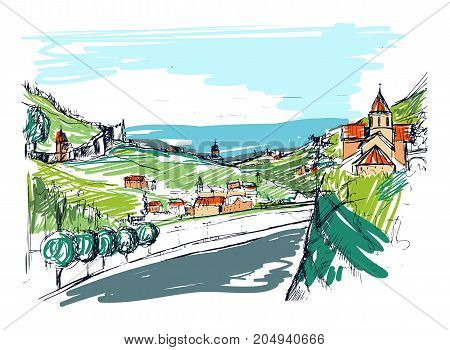 Rough draft of small Georgian town street, buildings and trees against mountains on background. Landscape with settlement located near hills hand drawn. Colored sketch vector illustration