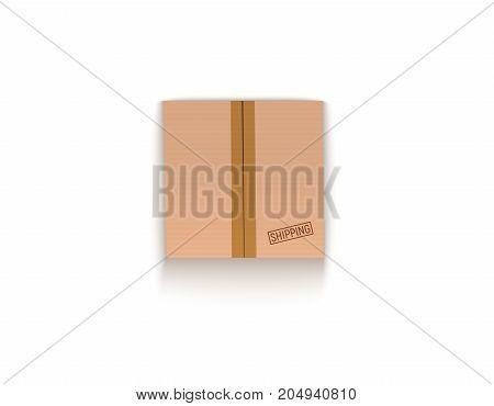 Sealed cardboard box isolated on white vector illustration