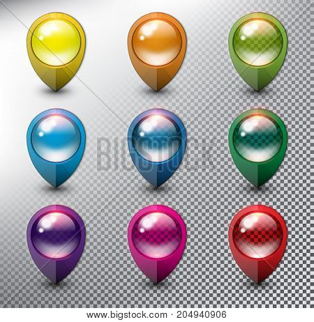 Collection of 9 blank map markers. Location icons. Colorful with transparent glass in 9 different colors. Isolated with realistic shine and shadow on the light background. Vector illustration. Eps10.