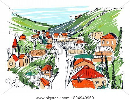 Sketch of mountain landscape with Georgian town colored hand drawn. Beautiful monochrome drawing with buildings and streets of small city located between hills. Vector illustration