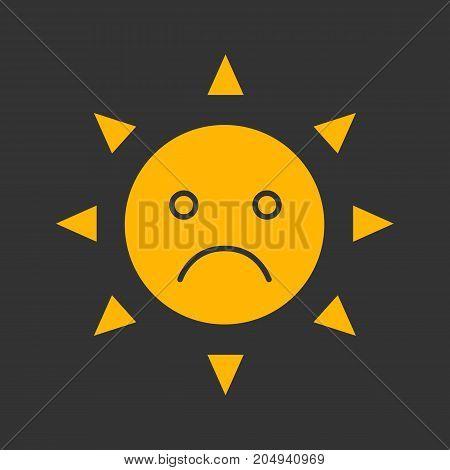 Sad sun smile glyph color icon. Bad mood. Silhouette symbol on black background. Negative space. Vector illustration