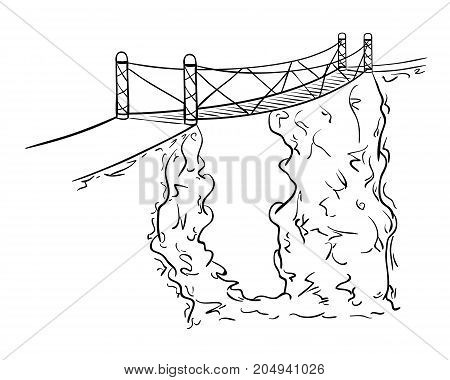 Rope bridge over the abyss between two rocks. Sketch illustration.