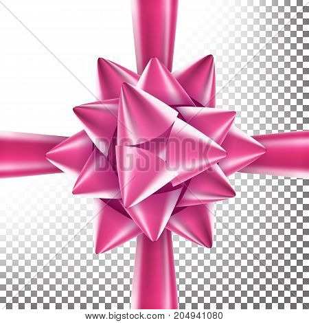 Gift Bow Vector. Bright Ribbon. Isolated On Transparent Background Illustration.