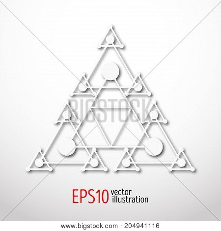 Magic white triangle with recursive 3d . Sacral geometry symbol. Scandinavian, celtic or eastern style illustration. Enigmatic and hypnotic, karma figure