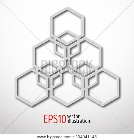 Hexagonal 3d design made in white plastic style. Sacral geometry. Mystery enigmatic shape. Abstract vector art design of labyrinth in honeycombs shape