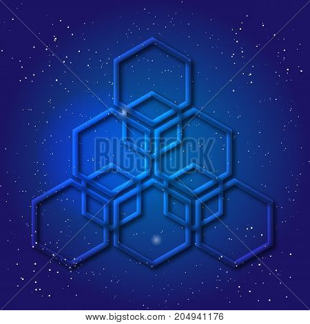 Hexagonal 3d design made in cosmic style. Sacral geometry Mystery enigmatic shape. Abstract vector art design of labyrinth in honeycombs shape in space