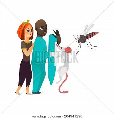 vector flat cartoon male doctor holding shield protecting female patient from mental illness - rats, insects fear or phobia. Isolated illustration on a white background