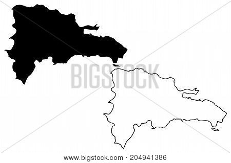Dominican Republic map vector illustration , scribble sketch Dominican Republic