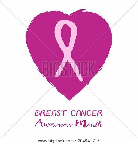 Shape of pink ribbon from brush strokes in heart inside on white background. National Breast Cancer Awareness Month. Vector illustration