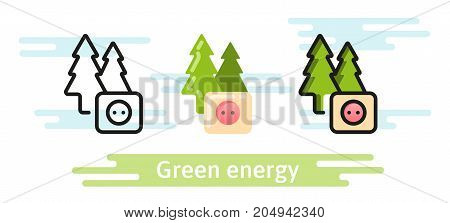Green and renewable energy icon. Eco vector symbol. Linear, flat and material design concept.