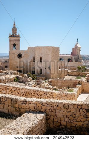the Cathedral of Assumption in the middle of the citadel in Gozo Malta.