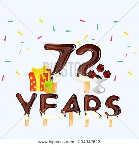 72 Years Happy Birthday card. Vecot illustration