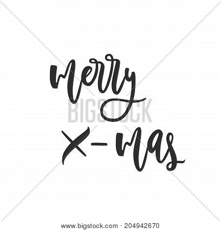 Merry X-mas greeting card. Black and white hand drawn lettering greeting card with calligraphy for design cards, overlays, scrapbooks. Vector calligraphy sign