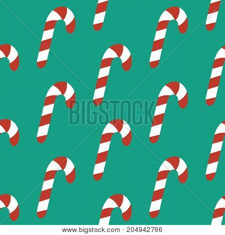 Candy cane pattern on the green background. Vector illustration
