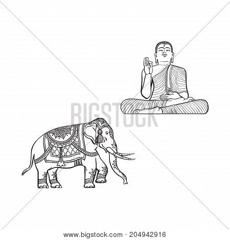 vector sketch cartoon eastern, oriental statue of sitting in Lotus posture Budda, decorated elephant set. Isolated illustration on a white background. Hand drawn Sri-lanka symbol