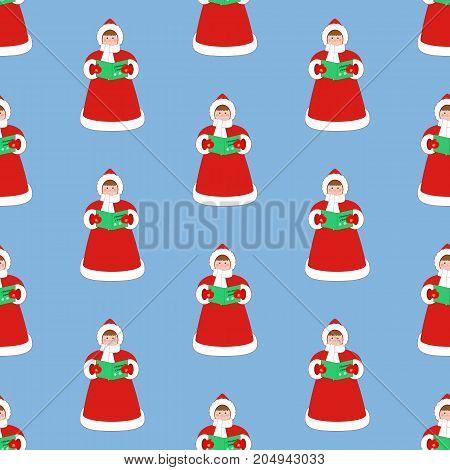 Christmas Carols singer pattern on the blue background. Vector illustration