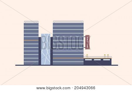 Business, commercial or office center with glass facade built in modern architectural style using natural materials. Ecological design in city building construction. Colorful flat vector illustration