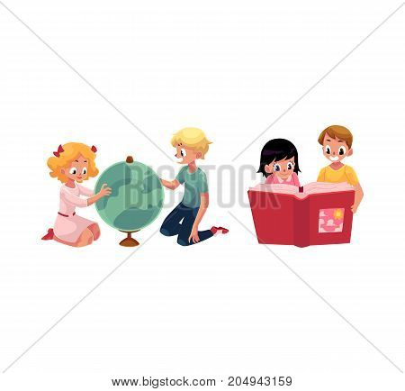 Kids, children learning, studying a globe, reading a book, sitting on floor, cartoon vector illustration isolated on white background. Kids, children learning - playing with globe, reading