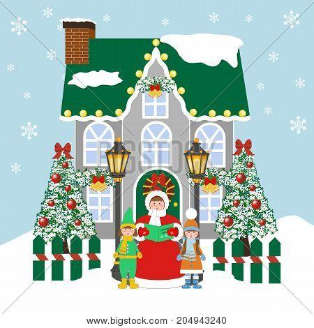 Christmas Carols singers on the blue background. Vector illustration