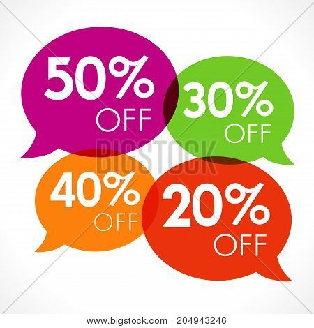 Special offer 20%, 30%, 40%, 50% sale colored speech bubble tag vector illustration. Discount offer price label, symbol advertising in retail, sale promo marketing, discount sticker on shopping day