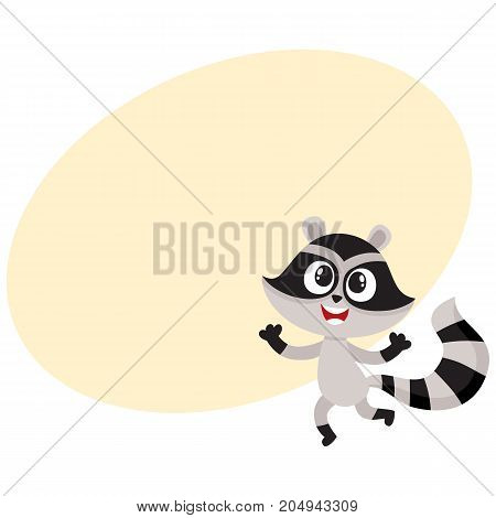 Cute happy raccoon character raising paws in welcoming gesture, cartoon vector illustration. Happy little raccoon character, mascot jumping from happiness, feeling joy