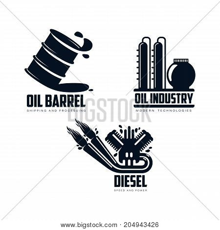 vector diesel gasoline engine with fire from exhaust pipe, oil refinery plant, oil barrel simple flat icon pictogram set isolated on a white background. Gas fuel energy power petroleum industry symbol