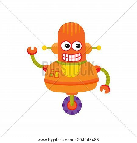 vector flat cartoon funny friendly robot. Big Humanoid character with wheel as legs , wrench arms antenna on head smiling. Isolated illustration on a white background. Childish futuristic android.