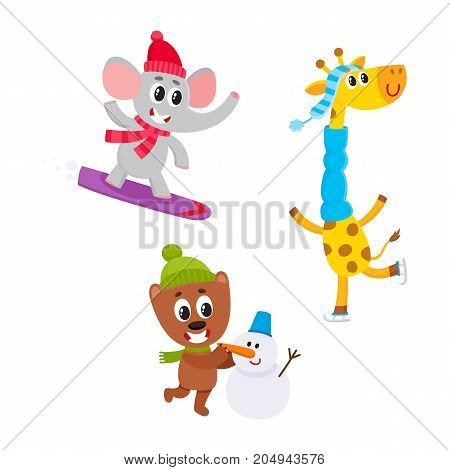 Cute animal characters doing winter activities - snowboarding, ice skating, making snowman, cartoon vector illustration isolated on white background. Set of baby animal characters having fun in winter