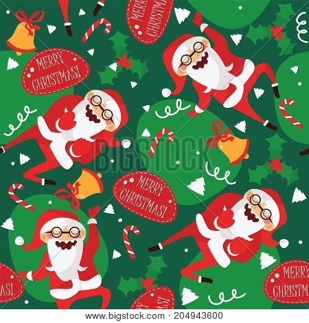 Set with lovely dancing Santa Claus hand drawn in different dance steps. Vector seamless pattern with lovely character and lettering Merry Christmas on green background