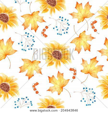 Watercolor hand draw painting seamless pattern with colorful autumnal leaves and sunflowers