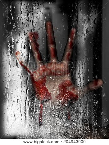 Steam room apocalypse 3d illustration of person hand against wet glass with condensation effect Horror background mixed media