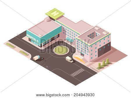 Hospital with signage, helicopter pad and ventilation equipment on roof, road infrastructure, transportation  isometric mockup vector illustration