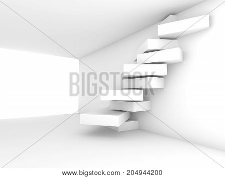 Room With Geometric Decoration On The Wall, 3D