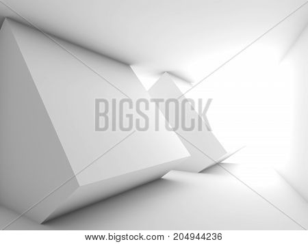 Abstract White Empty Room Interior, Bright Window