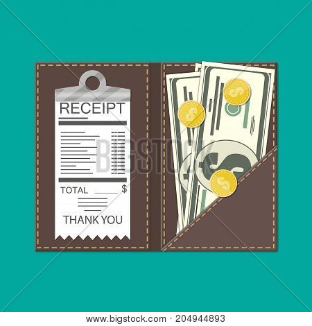 Leather folder with cash, coins and cashier check. Thanks for the service in the restaurant. Money for servicing. Good feedback about the waiter. Gratuity concept. Vector illustration in flat style