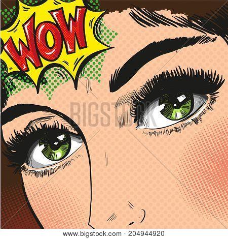 Pop art woman with big eyes stock vector art halftone