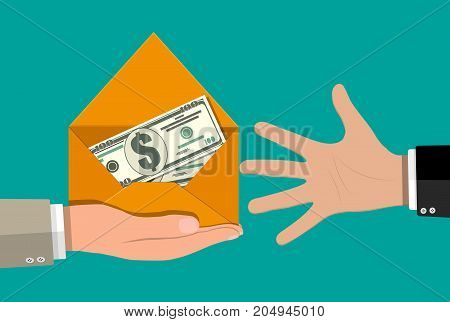 Dollar cash in envelope in hand. Prize, money payroll, income. Send money. Hidden wages, salaries black payments, tax evasion. Vector illustration in flat style