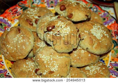 Home made sweet coockies on the plate
