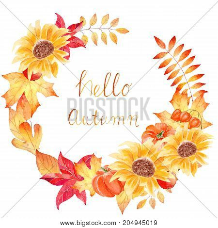 Hello autumn - watercolor hand drawn composition with colorful leaves and sunflowers