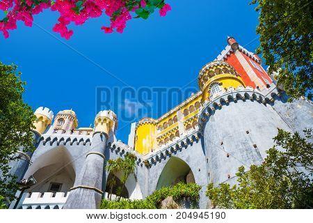 Beautiful architecture of Palacio da Pena, Sintra town, Portugal
