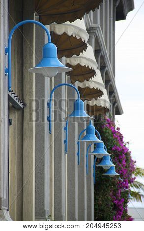 Blue street latterns in Port Louis, perfect focus