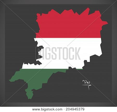Vas Map Of Hungary With Hungarian National Flag Illustration