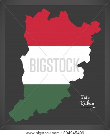 Bacs-kiskun Map Of Hungary With Hungarian National Flag Illustration