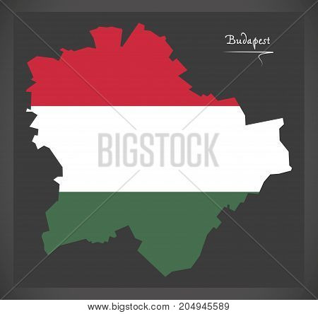 Budapest Map Of Hungary With Hungarian National Flag Illustration