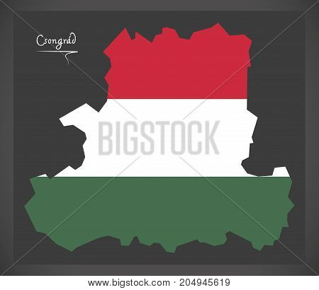 Csongrad Map Of Hungary With Hungarian National Flag Illustration