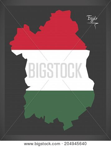 Fejer Map Of Hungary With Hungarian National Flag Illustration