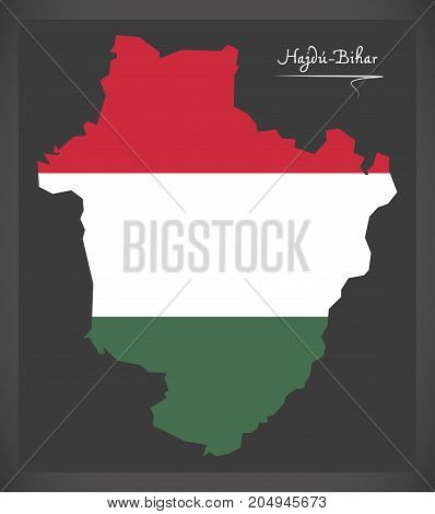 Hajdu-bihar Map Of Hungary With Hungarian National Flag Illustration